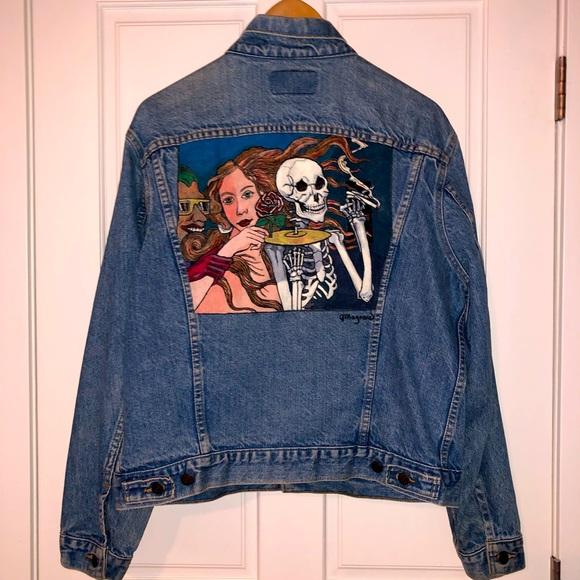 Vintage hand-painted Levi's denim jean jacket